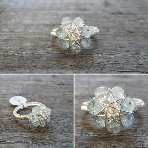 Aquamarine Flower Ring Image