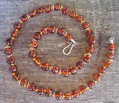 Cognac Amber & Sterling Silver Necklace Image
